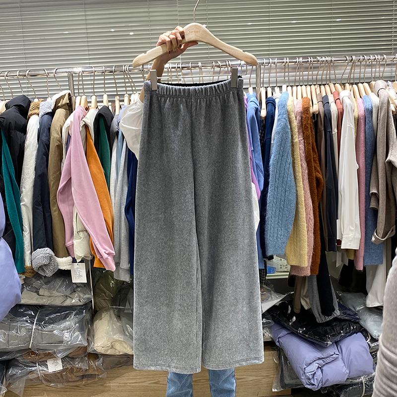 非町FEIDING韩国2020秋冬季新款高腰阔腿裤女灯芯绒加绒休闲裤女