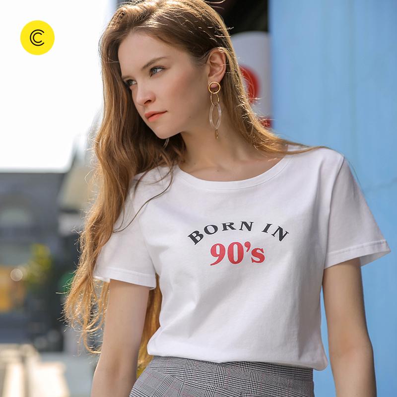 2018夏季新款cachecache简约白色可爱图案印花圆领短袖女款T恤女