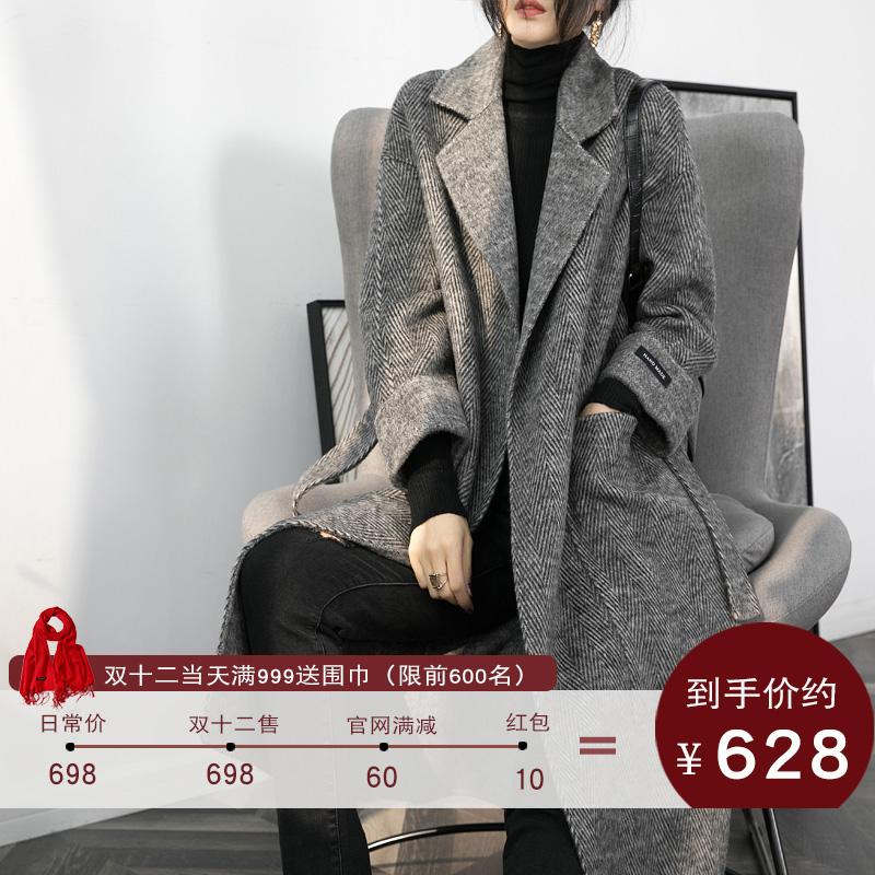 人字纹黑色双面羊绒大衣女中长款冬季加厚千鸟格复古羊毛呢子外套