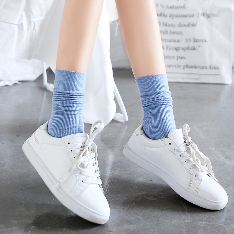 堆堆袜女韩国系中筒袜夏季日系百搭纯棉袜子长春秋薄款