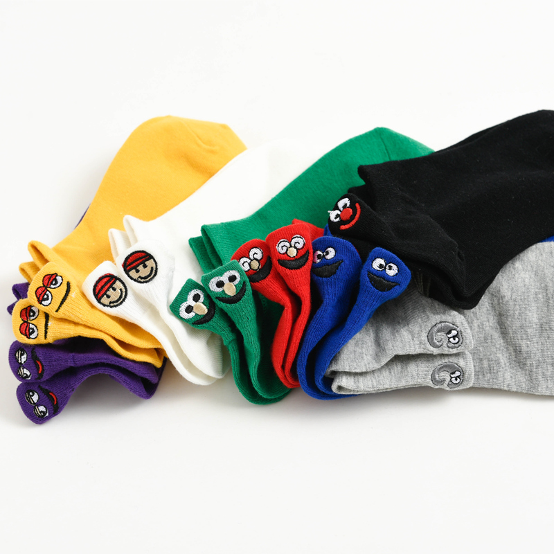5双装袜子女短袜ins潮日系韩国可爱纯棉夏季薄款浅口卡通船袜夏天