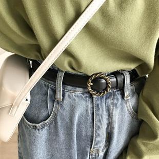 复古圆扣螺纹做旧女韩国牛仔裤腰带