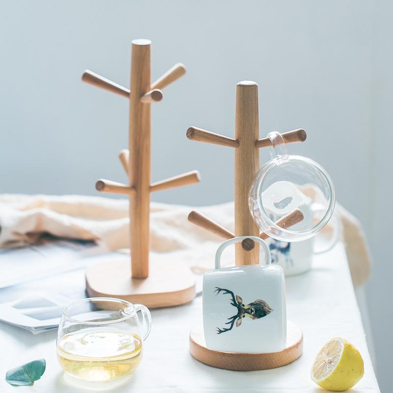 杯架家用水杯挂架创意木质咖啡杯沥水置物架茶杯架子收纳玻璃杯架