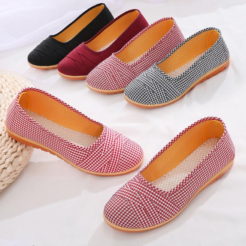 老北京布鞋女妈妈鞋纯色格子牛筋底浅口鞋平底单鞋休闲舒适奶奶鞋