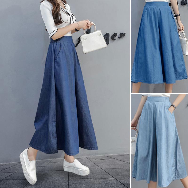 Tencel denim wide leg pants skirt pants womens new autumn cotton hemp breathable loose show thin elastic waist 7.9 thin