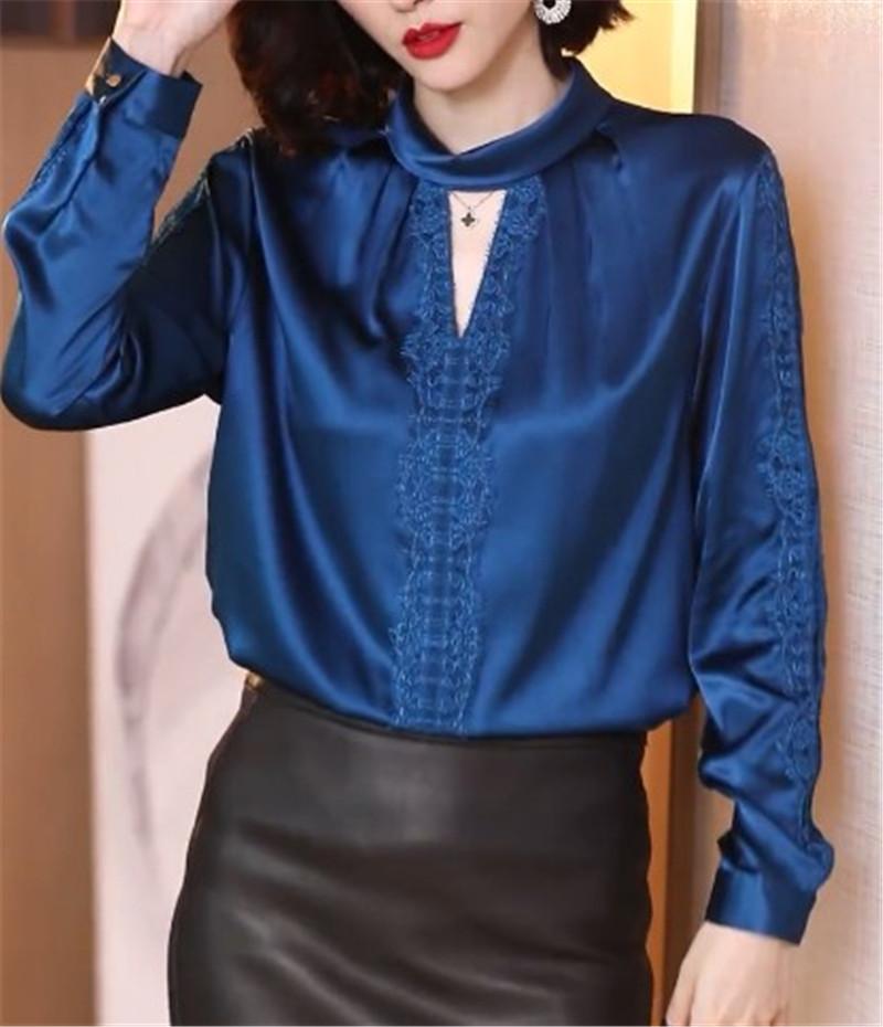 春季女装上衣2020新款立领挂脖宽松蕾丝衬衣重磅缎面真丝长袖衬衫