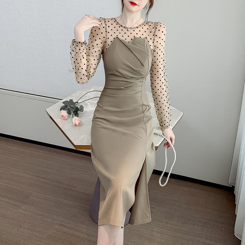 实拍~2020秋季新款波点网纱拼接裙子长袖K修身显瘦中长连衣裙P62