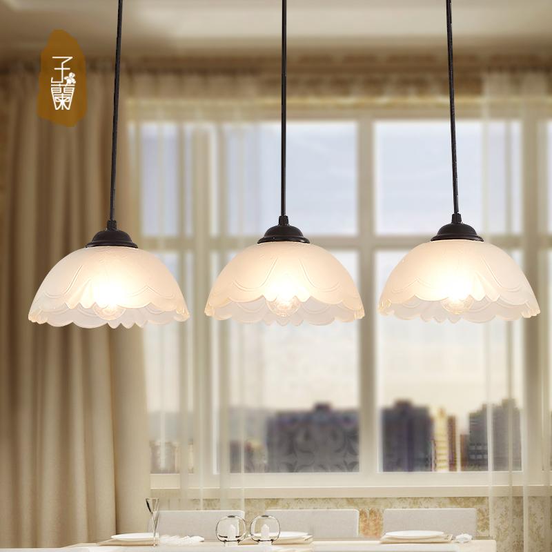 子蘭燈飾簡約歐式吊燈吧台複古餐廳吊燈三頭飯廳燈陽台走廊吊燈具