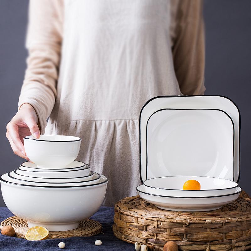 特価で簡単な陶磁器の碗の家庭用の食事の碗の皿のセット北欧の顔の碗の個性の小さいスープの碗の米の碗の碗の碗のどんぶりの碗の大きい碗