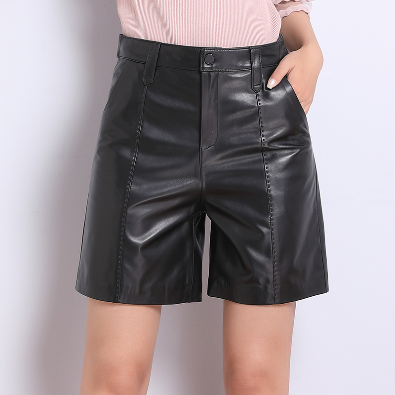 Europe 2021 new autumn and winter leather shorts women Haining sheep leather wide leg leather pants skirt pants boots pants straight pants