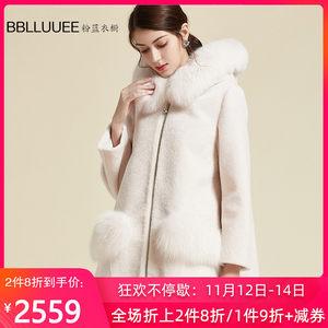 BBLLUUEE/粉蓝衣橱冬季新款中长款狐狸毛领皮衣外套女加厚大衣
