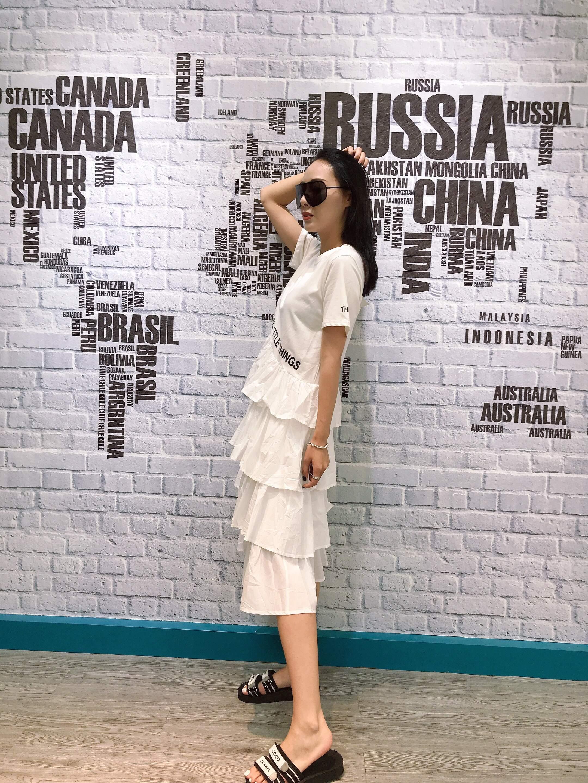 702欧洲新款站夏季款韩版短袖字母拼接层层蛋糕连衣裙女时尚款