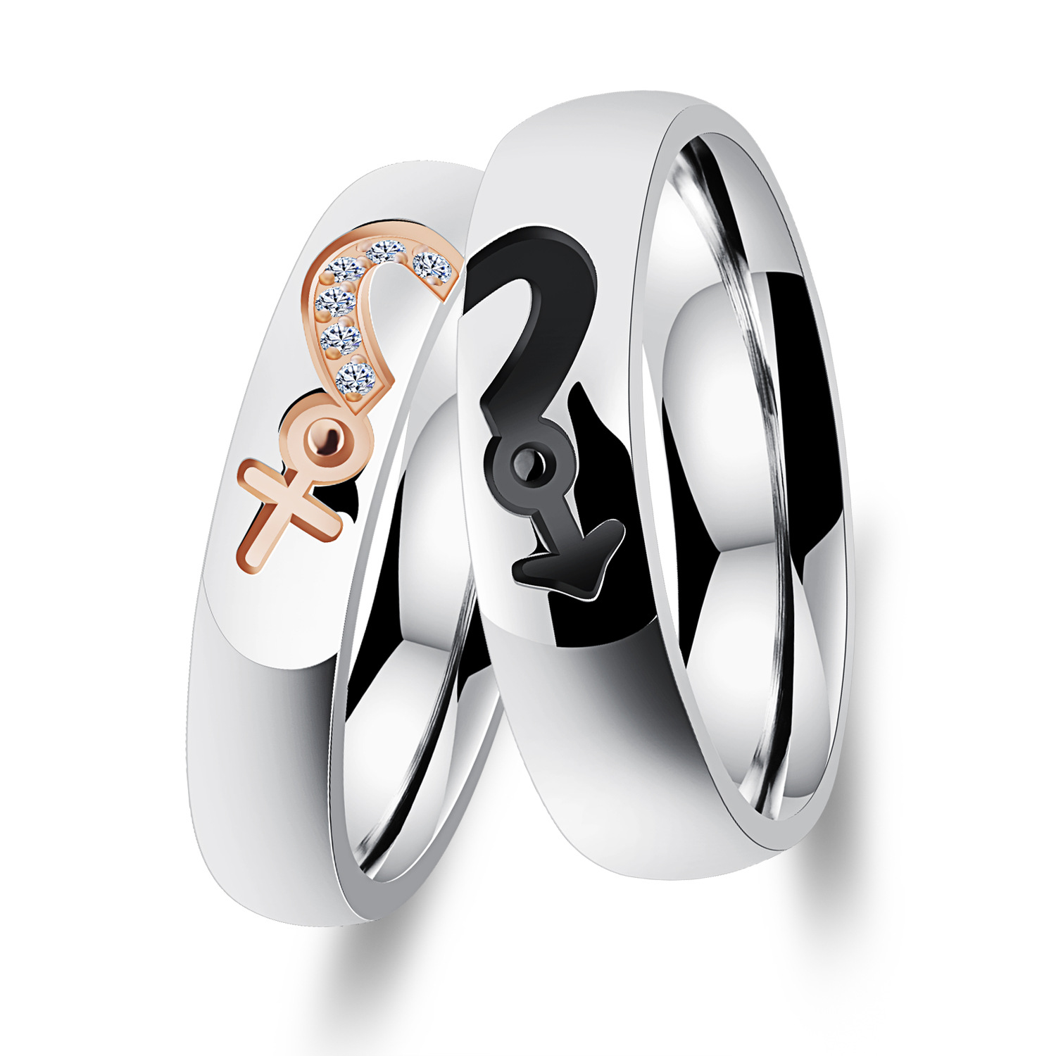 Love puzzle micro inlaid with diamond romantic titanium steel food ring for men and women symbol symbol couple ring Valentines Day gift