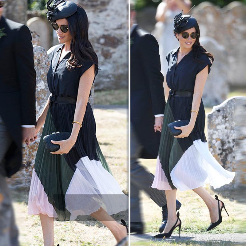 欧货洋气套装20夏季新款梅根王妃同款黑色短袖修身衬衫拼色压褶裙