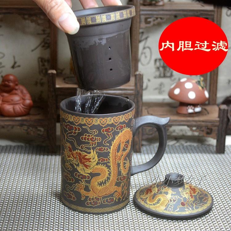 紫砂茶杯带盖三件套水杯内胆过滤公办泡茶杯手工茶杯带茶隔过滤