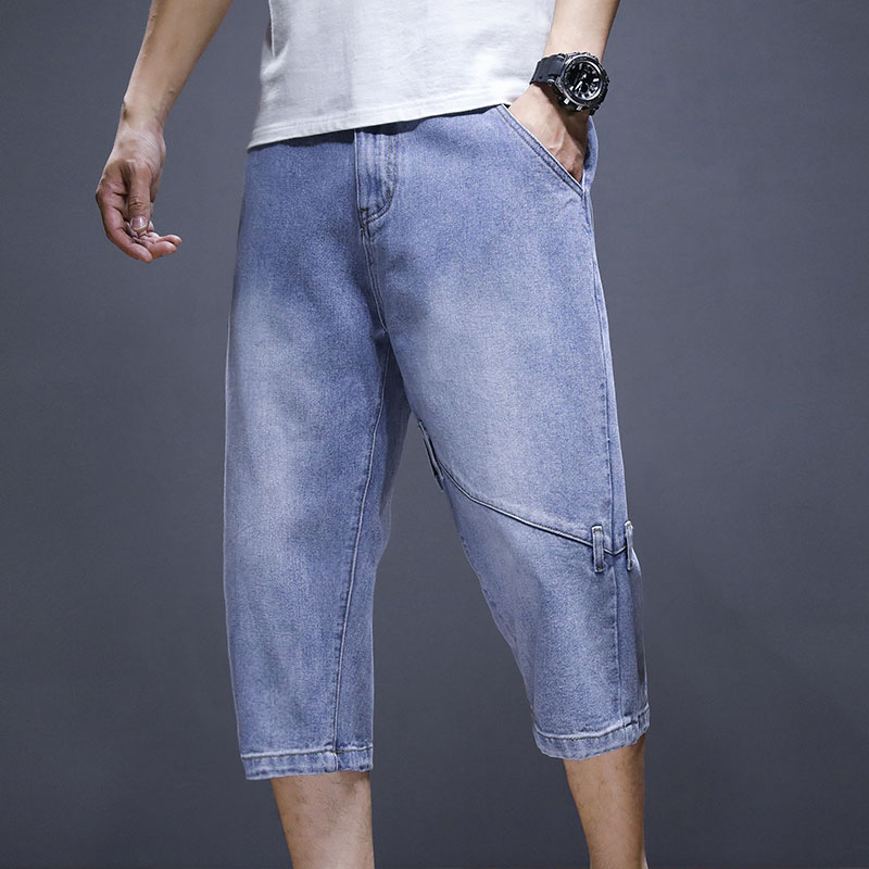 Autumn and winter thick high waist mens elastic denim trousers with large size, fat and plush to keep warm, loose and fat to keep warm
