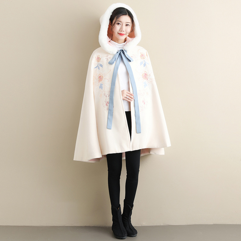 Fresh and sweet windbreaker womens elegant temperament embroidered winter new fashion wool cloak embroidered Hooded Coat