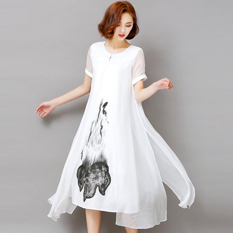 妈妈装2018夏季新款中国风大牌桑蚕丝宽松大码中长款真丝连衣裙女