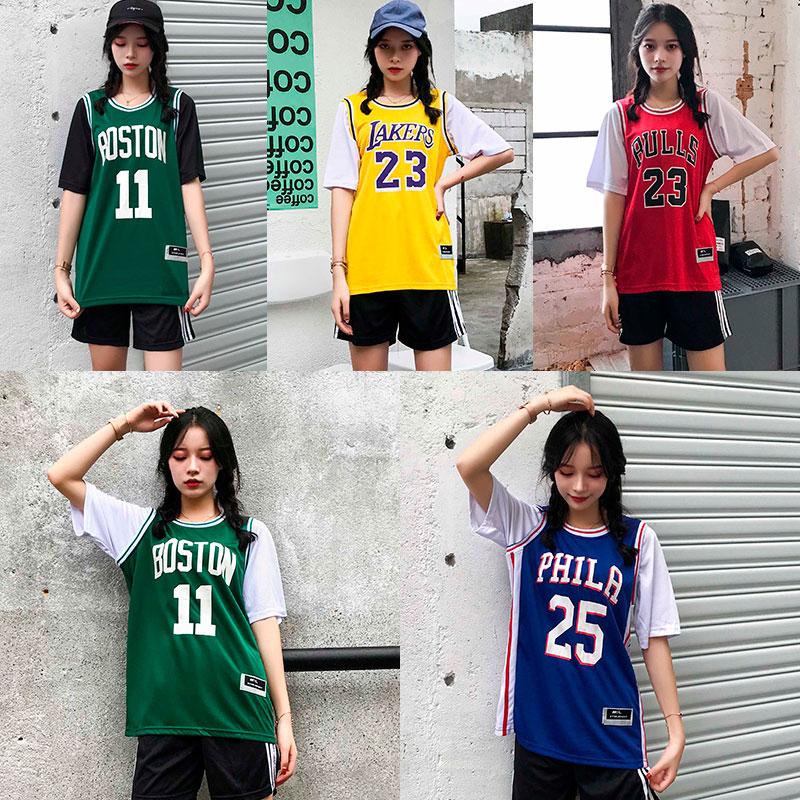 詹姆斯球衣假2件男女短袖23号湖人库里科比t恤欧文11号背心篮球服图片
