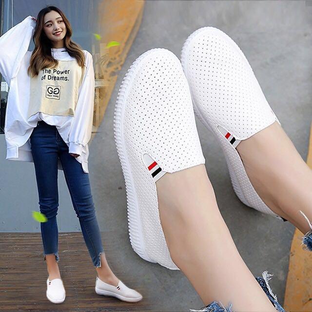 韩版百搭经典小白鞋懒人鞋一脚蹬透气女鞋