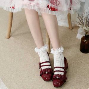 现货小甜柚原创Lolita鞋日系花边褶双排蝴蝶结圆头可爱漆皮单鞋女