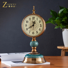 European Seat Clock, Desktop, Table Clock, Living Room Clock, Watch Pendulum, American Lightweight and Luxurious Creative Retro Large Silent Desktop Clock