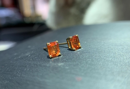 2021 Earrings New 18K gold inlaid natural Sri Lanka Orange Sapphire Earrings