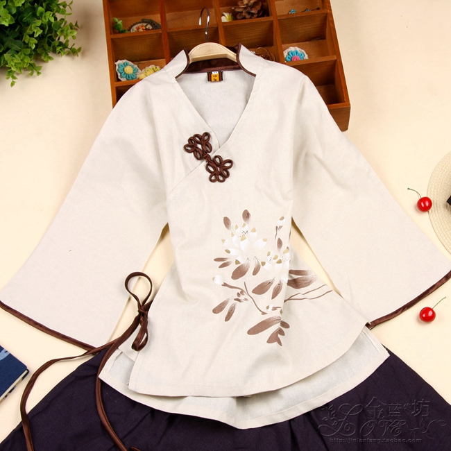 national style Chinese style Chinese style cotton and linen hand-painted Tang suit ladies spring and summer clothing improved Hanfu flag