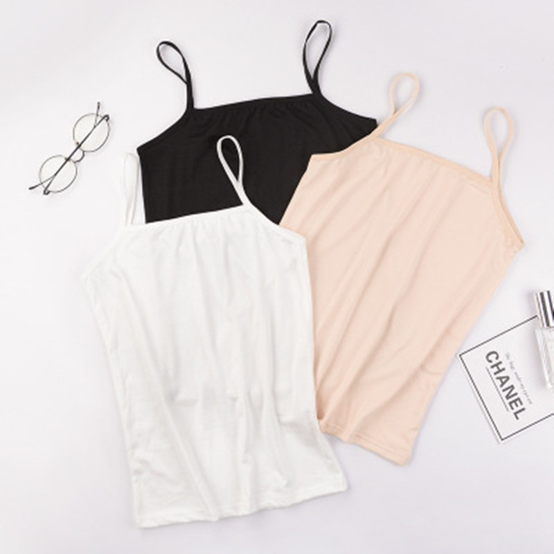 Independent packaging womens sling vest female summer students bottoming shirt one line collar solid color small sling female Xia