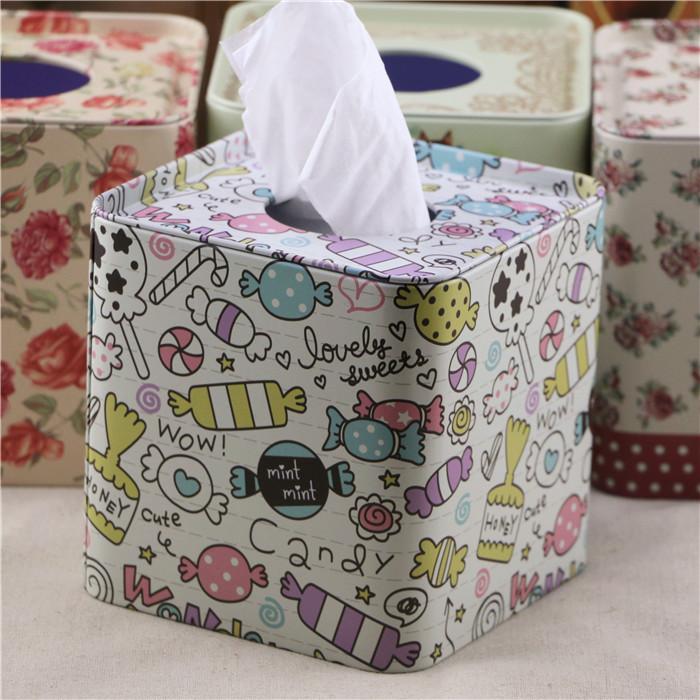 2个包邮正方形创意铁皮餐巾筒 防水纸巾盒 卷纸盒 手纸盒 抽纸盒