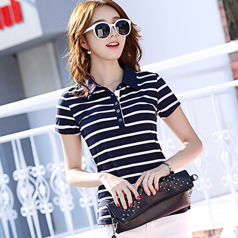 Collar stripe short sleeve T-shirt womens Lapel cotton polo summer slim womens modal top