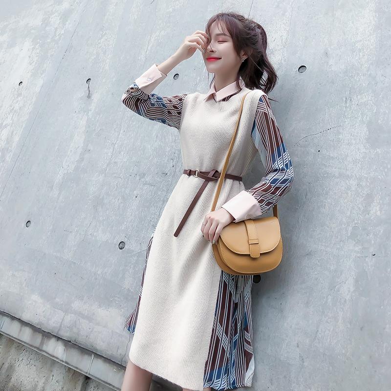 秋季韩版中长款毛衣时尚马甲两件套装女神范气质长袖雪纺连衣裙冬