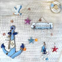 地中海挂饰装饰家居背景墙海洋风幼儿园环创渔网壁饰买就送配件