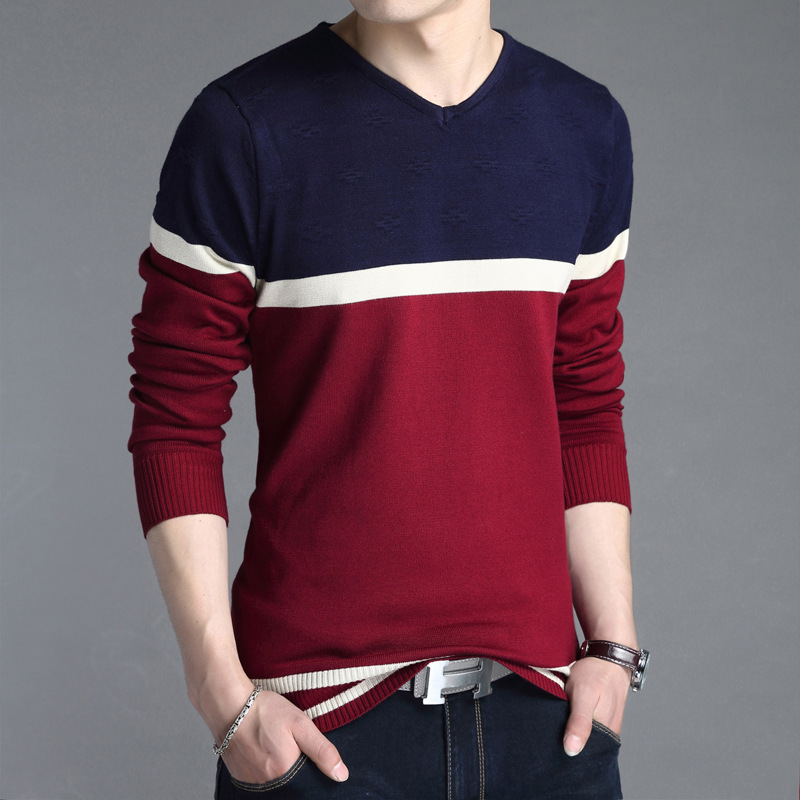 Spring and autumn new fashion mens V-neck Pullover Sweater for mens slim fit