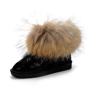 内增高超大狐狸毛女短靴冬雪地靴