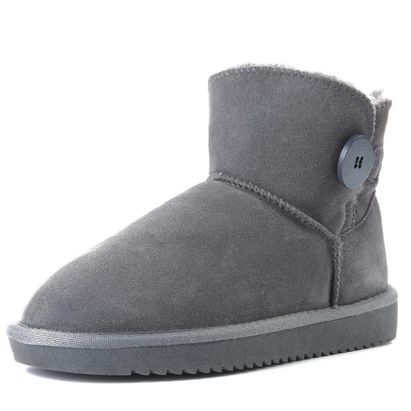 反季清仓真皮雪地靴女牛皮毛一体短靴子低筒加厚保暖防滑学生棉鞋