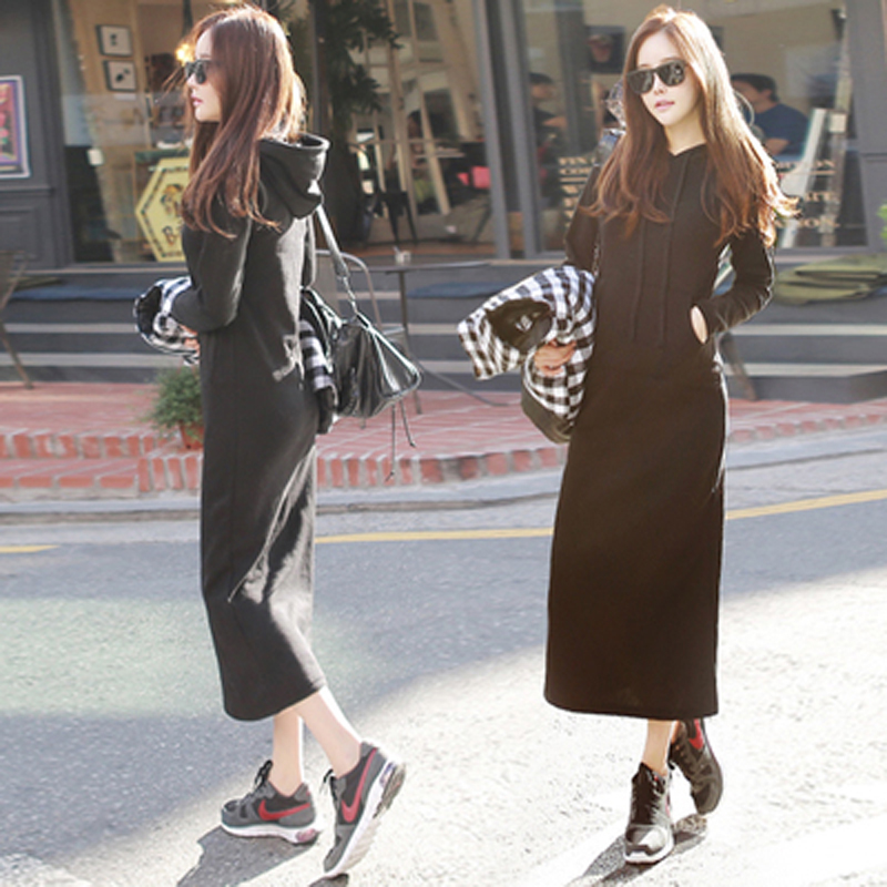 Korean version of chic long style over the knee and plush thickened hooded Pullover for womens long sleeve dress