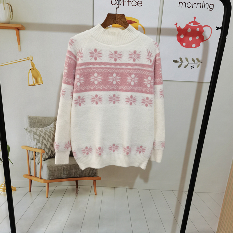2021 spring new Japanese morinfeng retro thickened sweater womens snowflake pattern T-shirt with round neck