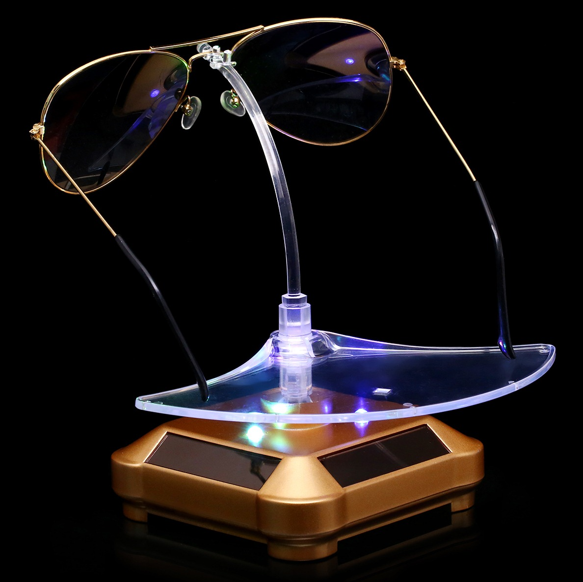 特卖货柜眼镜太阳能展示台 珠宝首饰品摆件旋转盘柜台 墨镜展示架