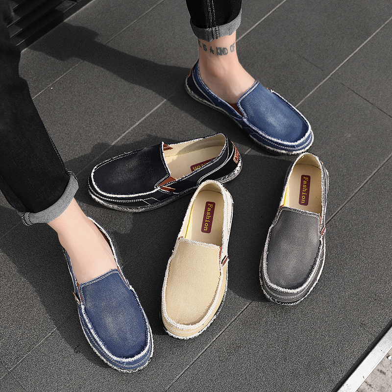 Spring breathable old Beijing cloth shoes, mens jeans, canvas shoes, one foot pedals, lazy people, baggy shoes, Korean fashion shoes, summer