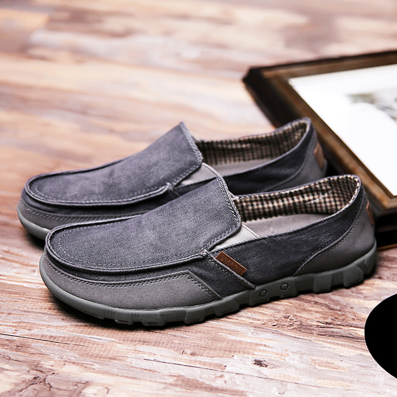 Spring and summer mens canvas shoes, Korean fashion shoes, one foot lazy shoes, flat bottom, large size, breathable, old Beijing cloth shoes man
