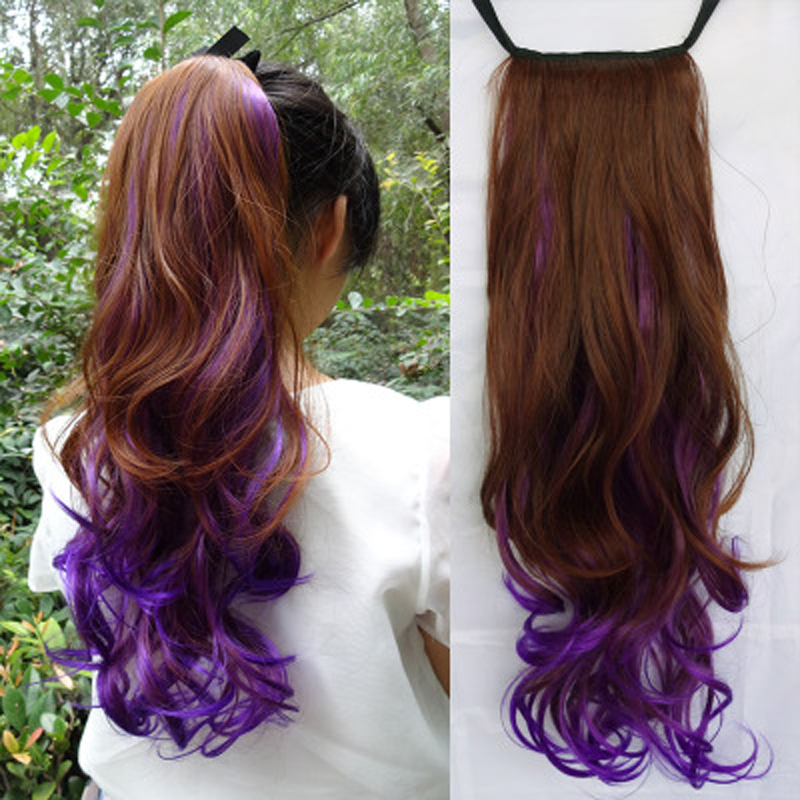 Wig female horsetail gradient color wig horsetail pick dye color bandage large wave horsetail wig long curly hair