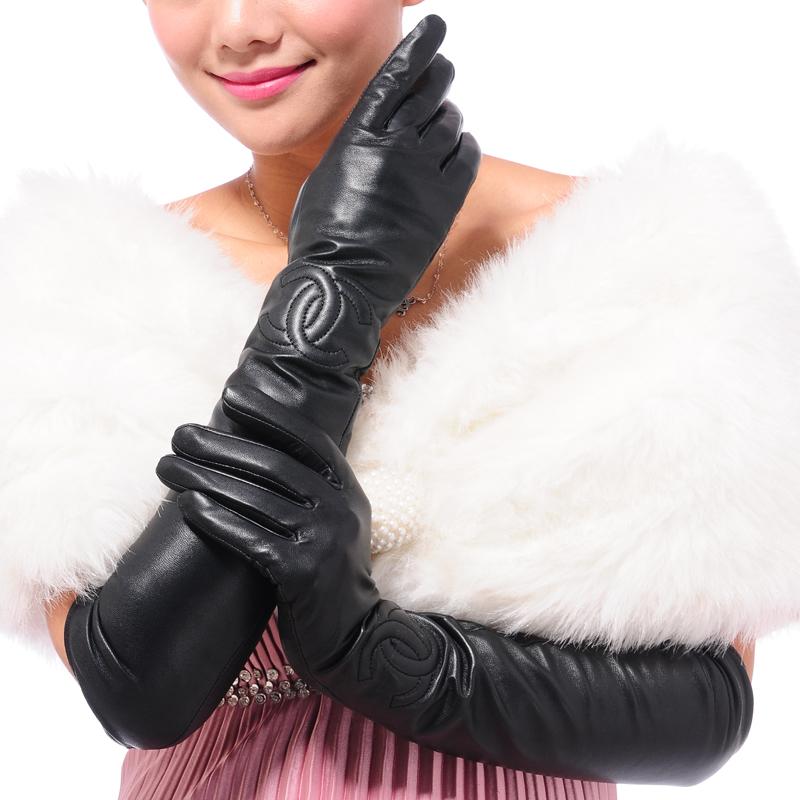 Длинный толстый теплой долго овчины кожаные перчатки дамы зимние перчатки локтя плюс долго руку наборы