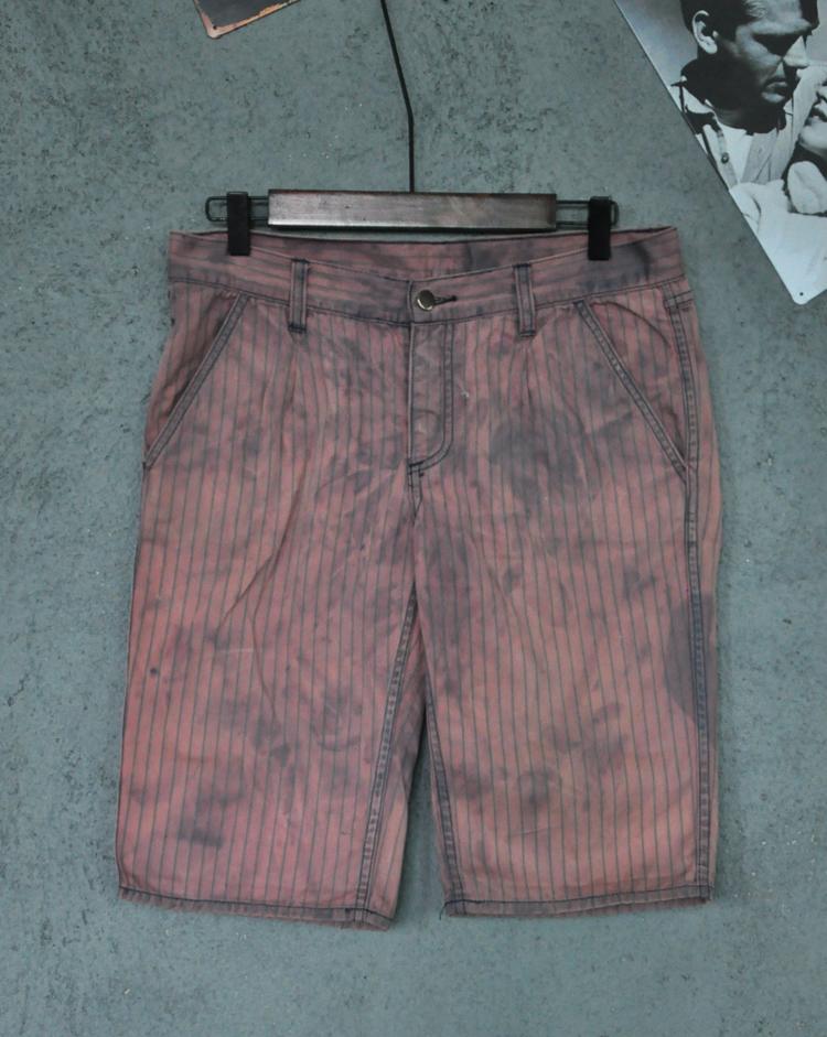 Mens striped casual shorts, slim straight, dirty wash irregular pigment effect