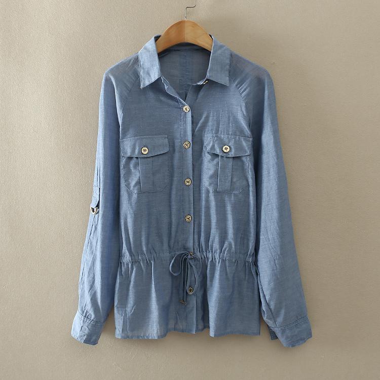 Слим похудение рубашку кнопку украшения длинные двойной Pocket талии Куртки летние A345