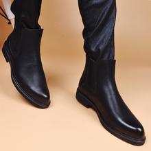 男皮靴子切尔西短靴真皮时尚简约内增高透气发型师中帮潮靴秋冬款