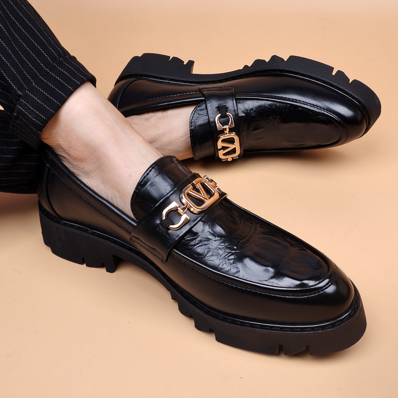 厚底布洛克增高男尖头皮鞋商务休闲男鞋子一脚蹬透气松糕皮鞋婚鞋