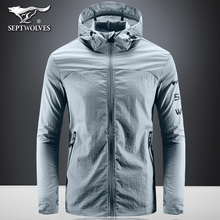 Seven Wolves Summer Sunscreen Clothes, Men's Ultra-thin Cap Jacket, Youth Athletic Windswear, Outdoor Leisure Skin Fashion