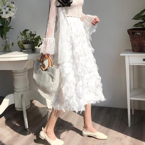 2019春夏季新款chic風立體羽毛流蘇須邊半身裙女中長款很仙的裙子
