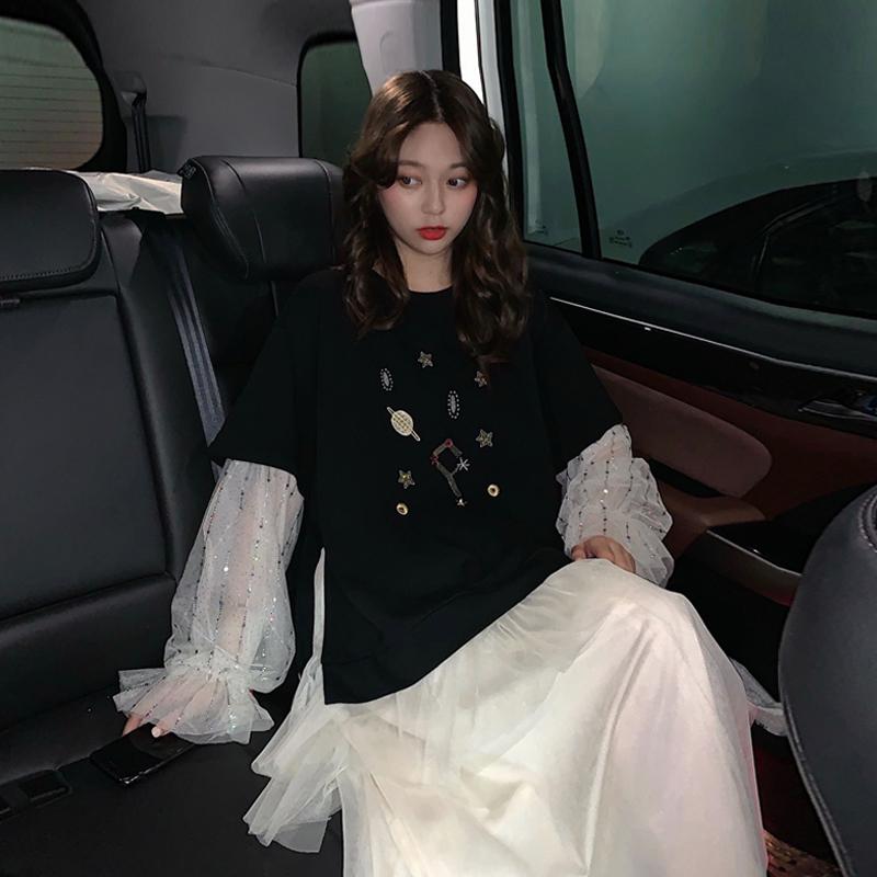 11-06新券时尚套装女秋季2019新款韩版bfT恤上衣+网纱连衣裙网红洋气两件套